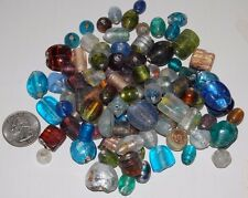 100 Mixed Glass Foil Beads All Colors & Sizes (Large)--Pony Round Barrel Rice