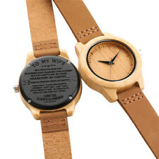 Personalized Engraved Natural Wooden Quartz Watch Leather Band Best Gift