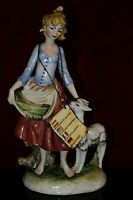 RARE VINTAGE GALOS PORCELAIN  GIRL WITH yeanling FIGURINE