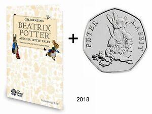 NEW! 2018! Royal Mint Beatrix Potter 50p coin collector album + Peter Rabbit BU