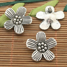 10pcs dark silver tone plum flower charms h3271