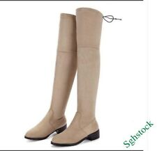 Sexy Winter Knee High Boots Women's Block Pull On Stretchy Shoes All US Size new
