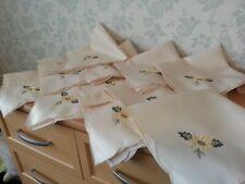 Set of 12 Vintage Napkins with Embroidered Yellow Flower. Afternoon Tea? Unused