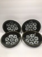 4 MIKASA COUPE SOUP BOWLS  RAVENNA 7505 ''MAJORCA'' DAISIES ON BROWN JAPAN