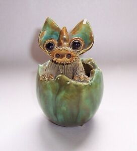 Vintage YARE POTTERY Green DRAGON In EGG