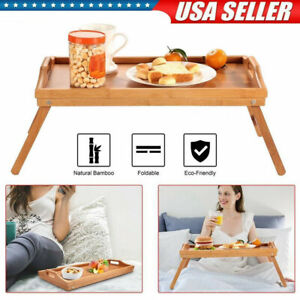 Bamboo Bed Tray Breakfast Laptop Desk Food Serving Hospital Table Folding Legs