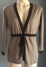NWT Brown JACQUI E Long Sleeve Knit Drawstring Waist Cardigan Size M