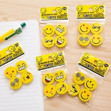 4PCS Funny Emoji Rubber Pencil Eraser Novelty Student Gift Cute Toy For Kids SU2