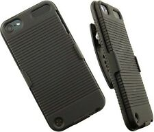 BLACK RUBBERIZED HARD CASE + BELT CLIP HOLSTER COMBO FOR iPOD TOUCH 5 5th GEN