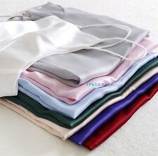 Womens Satin silk Camisole Cami Strappy Vest Tops T Shirt Blouses Tank Sleepwear