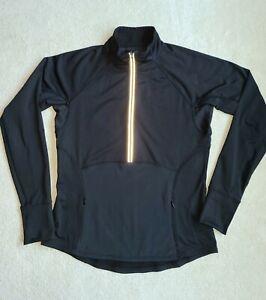 Athleta Black Long Sleeve Top 1/2 Zip Fitted Athletic Jacket Shirt Size Medium