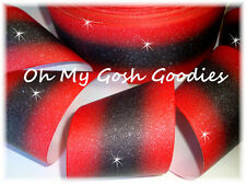 """3"""" GLITTER DOUBLE OMBRE CHEER GROSGRAIN RIBBON 4 TIC TOC BOW HAIRBOW RED BLACK"""