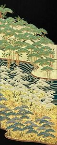 Vintage SILK Japanese Kimono TOMESODE Fabric EMBROIDERY Panel  #424