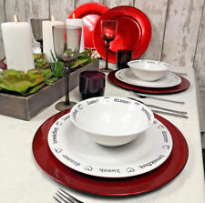 6 X Set of Round Red Charger Plates Centrepiece Tableware Under Place Settings