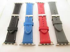 Snugg Calidad Correa de Reloj Cuero Apple 38mm 42mm Rojo Negro Azul Gris