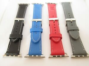 Snugg Quality Leather Watch Strap Apple 38mm 42mm Black Red Blue Grey