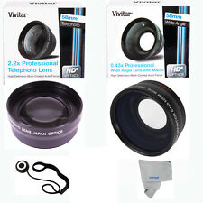 WIDE ANGLE LENS  + TELEPHOTO ZOOM LENS FOR CANON EOS 1000D 1100D 1200D 1300D T5
