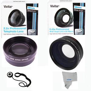 Canon  T1 T2 T3 T4I T3I T5I 60D 7D  3 Lens 58MM Telephoto+ Wide Angle and Macro