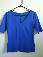 Womens Ann Taylor top XS extra small blue v neck 1/2 sleeve fitted