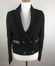 NWT Ann Taylor LOFT Womens SZ 4 Black Woolblend Jacket Blazer Jewel Pockets New