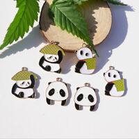 10X/Lot Lovely Enamel Panda Pendant Charms DIY Earrings Craft Jewelry Finding YK
