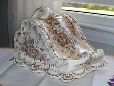 Antique Cheese Keeper Dish Large English Victorian china brown flowers 221859