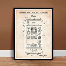 IPHONE PATENT POSTER APPLE STEVE JOBS CELL SMART PHONE IOS SIRI GIFT (unframed)