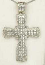 MENS 14k WHITE GOLD 20ct SQUARE ROUND DIAMOND CROSS PENDANT 91.7g 3.90""