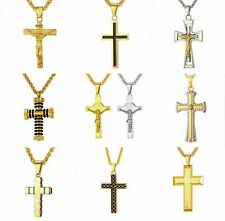 Cross Pendant Necklace Jesus Solid Stainless Steel Yellow Gold Plated Gift