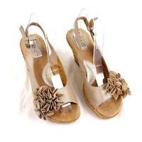 BOC Womens sz 7 Gold Leather Peep Toe Sling Back Heels Cork Wedge Flower Accents