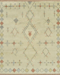 Moroccan Beni Ourain 8'x10' Ivory Wool Tribal Hand-Knotted Area Rug