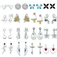 925 Sterling Silver Women Girls Earrings Ear Stud Dangle Earring Fashion Jewelry