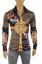 VERSACE Medusa Men's Dress Shirt Long Sleeve Black and Gold color 178 Size XXL