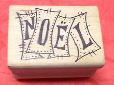Magenta Retro NOEL Christmas rubber stamp Holidays vtg look signs wood mounted