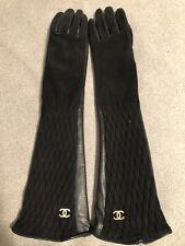 Chanel Handschuhe 6 1/2 Leder Samt Logo Luxus Schwarz Black Gloves