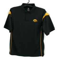 Iowa Hawkeyes Black Gold Polo Shirt L Mascot NCAA Licensed