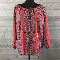 Hot in Hollywood Womens Top Relaxed Crochet Lace Peasant Keyhole Plus Size 3X