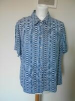 EASTEX Ladies Blouse Top Size 14 White & Teal Stripe Collar Button closure