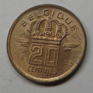 Belgium 20 Centimes 1953 Bronze KM#146 UNC