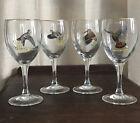 Set of 4 Vintage Ned Smith Duck Wine Water Glasses Wild Game Birds Turkey RARE