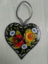Canalware Canal Barge Ware Narrowboat Wooden Hanging Heart Decoration Black
