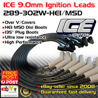 ICE PRO 100 9mm Ignition Leads V8 289-302 Windsor Over R/Covers Black HEI MSD