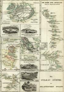 Volcanoes of the Atlantic islands 1860 Meyer detailed scientific map