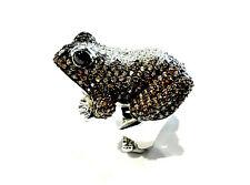 Bijou argent 925 bague grenouille détais cristaux swarovski taille 60 réglable