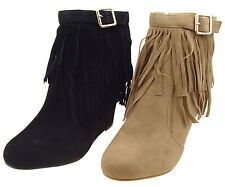 New Women's Western Fringe Moccasin Boot's Wedge Heels, Ankle Bootie's size:5-10