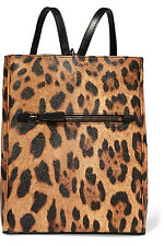 $1405 NWT DOLCE & GABBANA Leopard-print textured-leather backpack