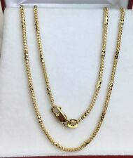 "18k Solid Yellow Gold Italian Rectangle & Franco Chain Necklace, 18"". 5.91Grams"