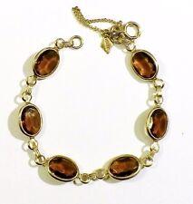 bracelet bijou vintage couleur or cristaux citrine signé SARAH COV sécurité 2618