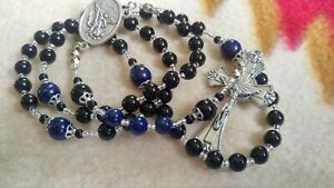 Catholic Rosary Beads, Police Officers, Thin Blue Line Black and Blue handmade