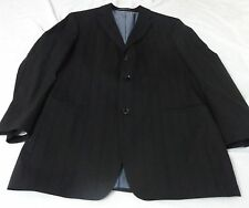 Hugo Boss Black Striped Wool Side Vented Three Button Men Suit 44 R